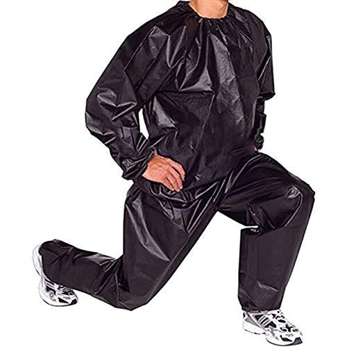 Trajes de Sauna Heavy Duty Fitness Pérdida de Peso Sudor Traje de Sauna Ejercicio Gimnasio Anti-Rip PVC Hombres y Mujeres (Color : Black, Size : 5XL)