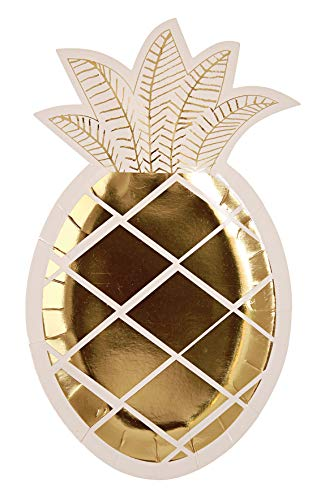 Meri Meri Gold Pineapple Paper Plates - Disposable Party Supplies, for Tropical Themed Birthday Parties, Baby Showers, and Wedding Celebrations, Large 9.75 x 5.75 Inch Size, Pack of 8