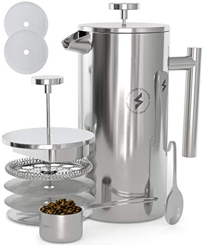 Brill Stone French Press Coffee & Tea Maker Complete Bundle (34 Oz â 1 Liter) 4 Items â Double Wall Stainless Steel French Press, Serving Scoop, Dessert Spoon & 4 Ultra-Fine Filter Screens