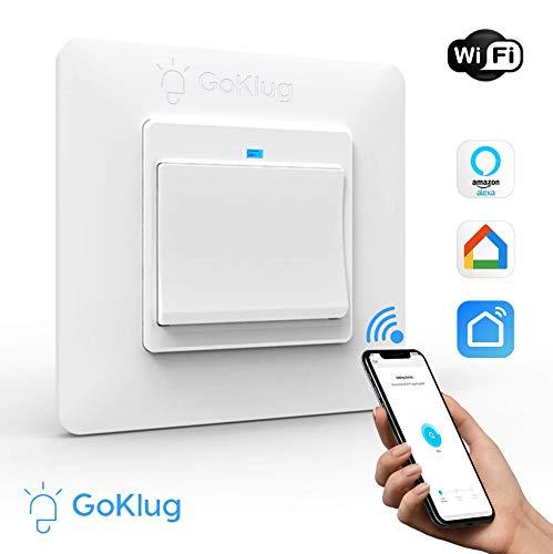 Alexa Lichtschalter Taster GoKlug Smart Home WLAN Lichtschalter Alexa Google Home APP Fernbedienung Lichtschalter Alexa Wechselschalter, Smart Switch Wifi Lichtschalter Glas Touch Innen 1 Weg