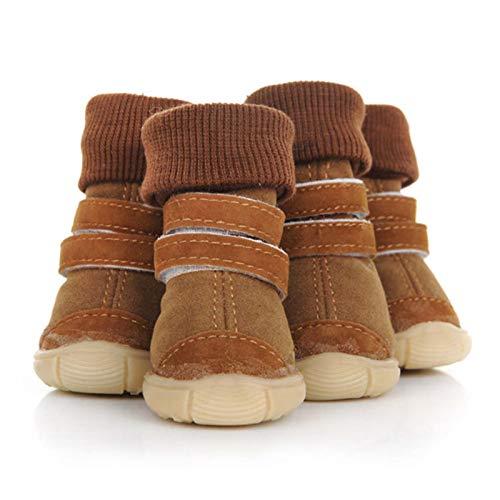 DWXN Zapatos De Invierno para Perros Botas De Nieve Cálidas Piel Impermeable Perros Pequeños Algodón Antideslizante para Mascotas Brown-1#