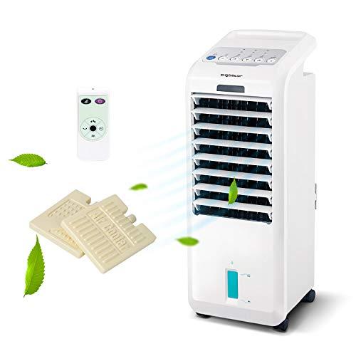 Aigostar Climatizador evaporativo con mando a distancia, 55W, función humidificador de aire, oscilante, 3 modos y 3 velocidades, temporizador 7 h, 2 cajas hielo, depósito 5 l