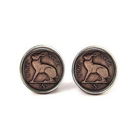 Hase Ohrringe mit 3 Pence-Münzen, Motiv eines irischen keltischen Hasen oder Hase