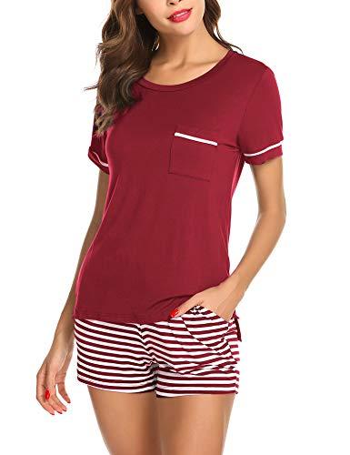 Ekouaer Sleepwear Womens Pajamas Soft Comfy Two Pieces Pajama Set Holiday Pjs,Wine Red M