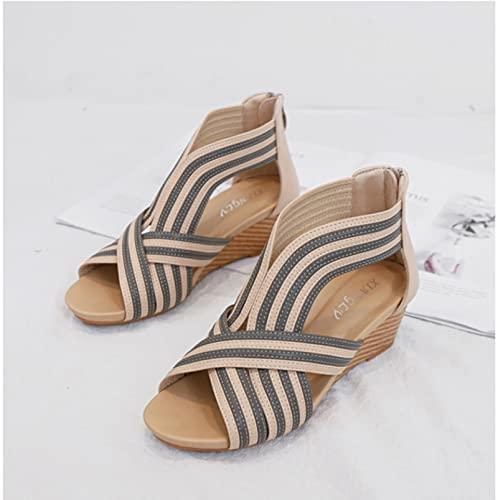 DZQQ Sandalias de tacón Inclinado para Mujer, tacón Medio 2021, Novedad de Verano, Bolso Informal con Cremallera, Zapatos Romanos para Mujer, Sandals36-42