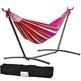 FDW Double Hammock with Space Saving Steel Stand Includes Portable Carrying Case(Red)