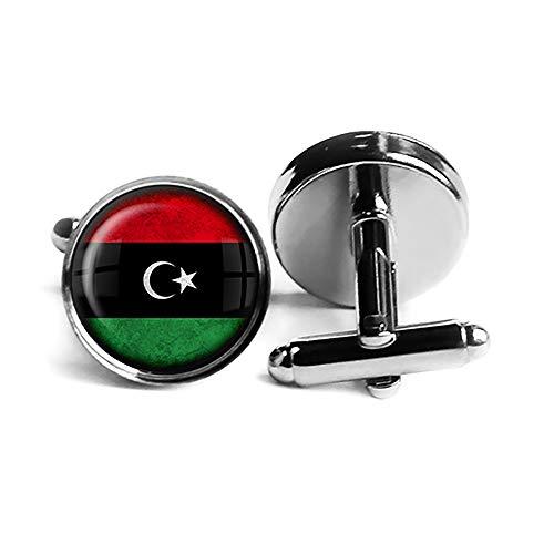 Libya Libyan Flag Libysche Libysche Flagge Rhodium Silber Manschettenknöpfe
