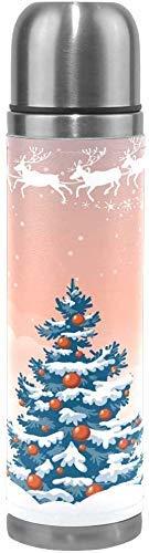 AEMAPE Merry Christmas Trees Botella de Agua de Acero Inoxidable Taza Termo de vacío de Doble Pared Taza de café de Viaje aislada a Prueba de Fugas ^ Q4A