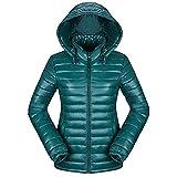 Newbestyle Femme Hiver Doudoune Ultra Légère Veste Manteau à Capuche Chaud Courte Zippée Parka Blouson (XL, Vert)