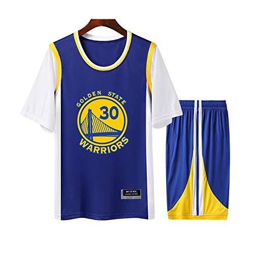 Curry Warriors #30 camiseta de baloncesto transpirable para hombre y mujer, cuello redondo falso, de dos piezas, camiseta de manga corta, juego de 2 piezas (S-4XL), 123, 123, color blanco, tamaño S
