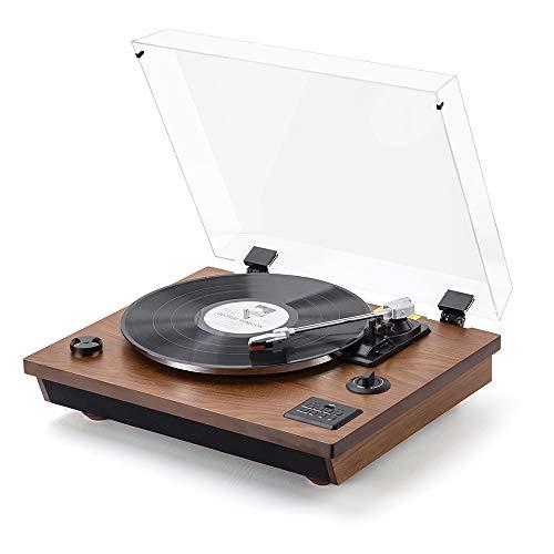 Plattenspieler - MC-262 SHUMAN, Dreistufiger Bluetooth-Plattenspieler, USB, Cinch, integrierte Stereolautsprecher, Aufnahmefunktion (Braun)
