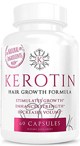 Price comparison product image Kerotin Hair Growth Vitamins for Natural Longer,  Stronger,  Healthier Hair - Hair Loss Supplement Enriched with Biotin,  Folic Acid,  Saw Palmetto - Hair Vitamins to Grow Thick Hair - 60 Pills (1)