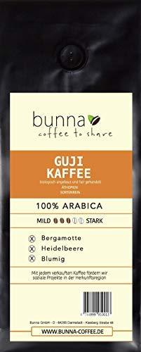 BUNNA COFFEE - PREMIUM KAFFEE - GUJI, BLUMIGER GESCHMACK, 100 % HANDVERLESENER FAIRTRADE ARABICA FILTERKAFFEE AUS NACHHALTIGEN ANBAU IN ÄTHIOPIEN, FRISCH GERÖSTET, STÄRKE 3, 1000g. GANZE BOHNE