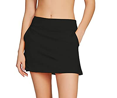 Cityoung Women's Golf Pleated Flat Skort with Pockets M,Black-a