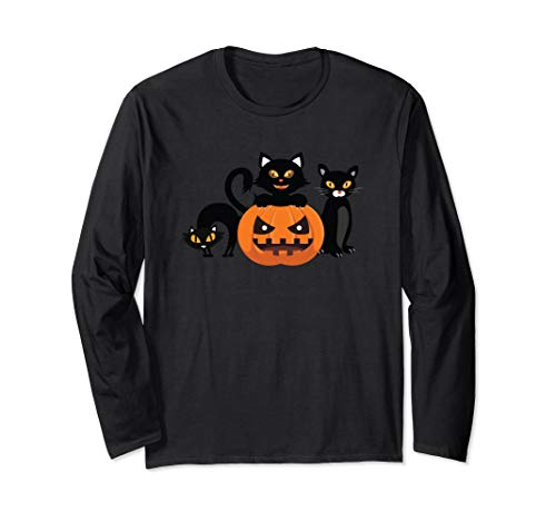 Halloween Cats & Jack-O-Lantern Kürbis Halloween Langarmshirt