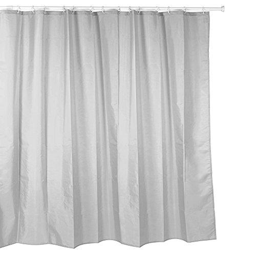 Tatay Cortina de baño de Polyester hidrofugado, Lavable, Evita la Humedad, en Color Gris, Acabado Satinado. Incluye Anillas