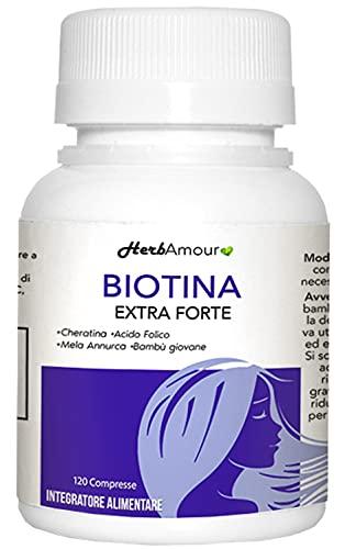 HerbAmour Biotina Extra Fuerte   Suplementos Para El Cabello Mujer   Efecto Anticaída, Fortalecimiento, Crecimiento   Vitaminas Con Biotina, Queratina, Manzana Annurca, Ácido Fólico y Bambú   120 Cpr