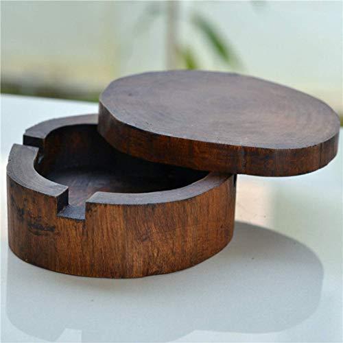 AMITD creatieve massief houten asbak met deksel houten asbak bloempot trendy klassieke Home Mini decoratie as opslag