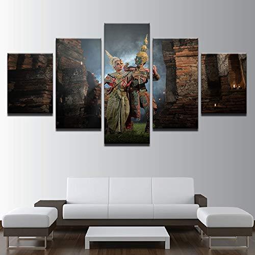 Canvas HD Prints Foto Decoratie Thais Traditioneel masker Dans Schilderen Woonkamer Mural Poster Frameless 40 * 60 40 * 80 40 * 100