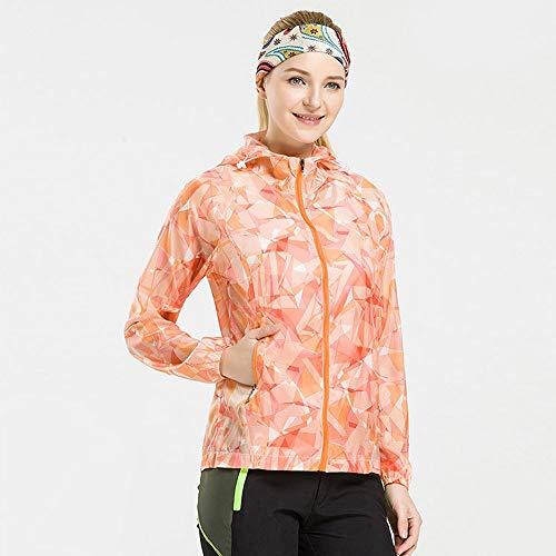 Yunbai UPF 50+ Sonnenschutz Long/Short Sleeve Outdoor-T-Shirt, Bester Sonnenschutz UPF 50 UV-Schutz-windundurchlässige wasserdichte Haut Kleidung for Frauen (Color : Orange, Größe : L)