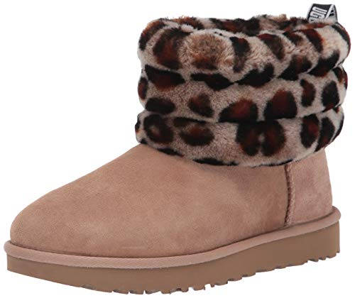 UGG Women's Fluff Mini Quilted Leopard Fashion Boot, Amphora, 6 M US