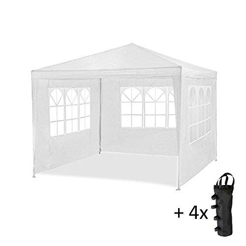 MaxxGarden partytent 3x4 m - WIT - 12m2 paviljoen met 4 oprolbare zijwanden - waterafstotend - UV-bescherming 50+ met 4 gewichtzakken GRATIS