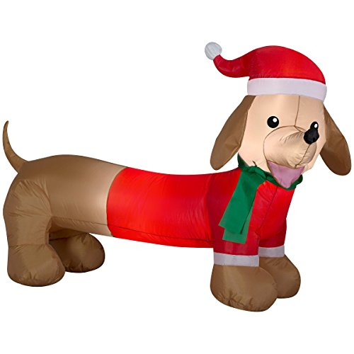 Dachshund Weiner Dog Air Blown Inflatable Outdoor Christmas Holiday Decoration - 4 feet wide