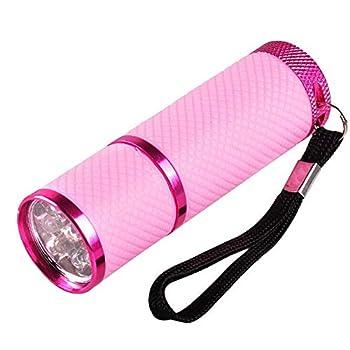 Flytise Mini Lampe de Poche pour Lampe de durcissement au Gel UV LED Lampe de Poche pour sèche-Ongles à Main Lampe de Poche à Ongles 9 LEDs 395nm Détecteur de Lampes de Poche UV pour Masque Facial
