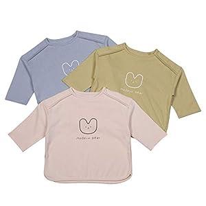 F's MAUMU 3カラー ショルダー切替 ベビー キッズ 長袖Tシャツ ベビー服 Tシャツ 子ども服 男の子 女の子 長袖 トップス (ブルー, 110)