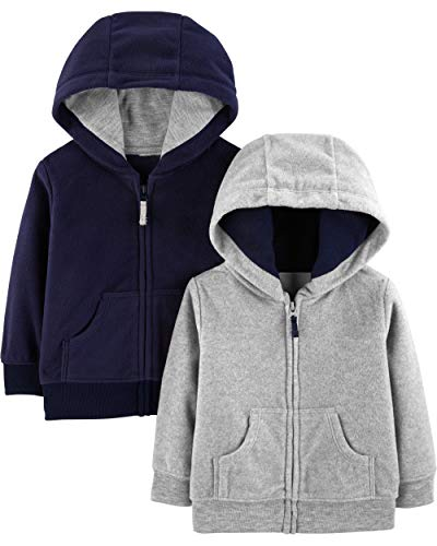 Simple Joys by Carter's Boys' 2-Pack Fleece Full Zip Hoodies, Gray/Navy, 18 Months