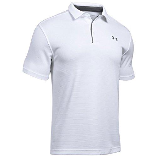 Under Armour Herren Tech atmungsaktives Poloshirt, komfortables und kurzärmliges Sportshirt mit loser Passform, Weiß (White/Graphite/Graphite (100), XL