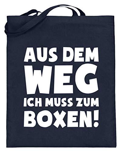 shirt-o-magic Boxsport: Ich muss Boxen - Jutebeutel (mit langen Henkeln) -38cm-42cm-Deep Blue