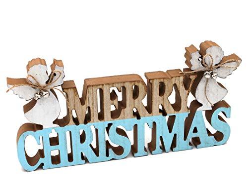 Con soporte de madera Merry Christmas con ángel, natural, blanco, azul claro, 34 x 17 x 3 cm
