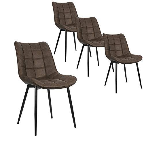 WOLTU Pack de 4 Sillas de Comedor Asiento de Cuero Artificial Silla Diseño Silla Tapizada Estructura Metálica Sillón con Respaldo Silla de Cocina Marrón