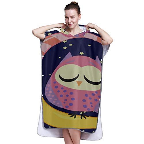LMFshop Nette Schlaf-Eule mit Mond-Sternen öffnen nahes Handtuch der Augen-Frauen Poncho-Poncho-Tücher für Mädchen Poncho-Badetuch für das Surfen Schwimmen Baden One Size Fit All