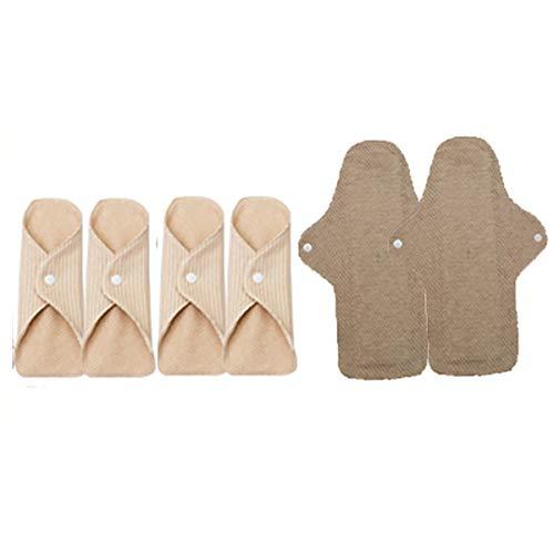 TBATM 6pcs Menstruation Care Pad Wiederverwendbare Damen Pads Netto trocken Tag & Nacht Set Bio-Baumwolle waschbar Slipeinlage regelmäßige Flow/Overnight,280mm