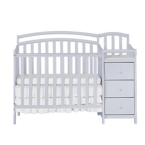 Dream On Me Casco 4-in-1 Mini Crib and Changing Table in Pebble Grey