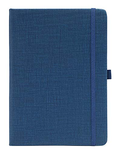 Yansanido 192 Pages Thick Notebook Hard Cover Lined Journal Notebook with Pen Loop A5/ 5.7x8.3 inch Cloth Hardcover Notebook with 80 gsm Premium Thick Paper with Inner Pocket (Blue)