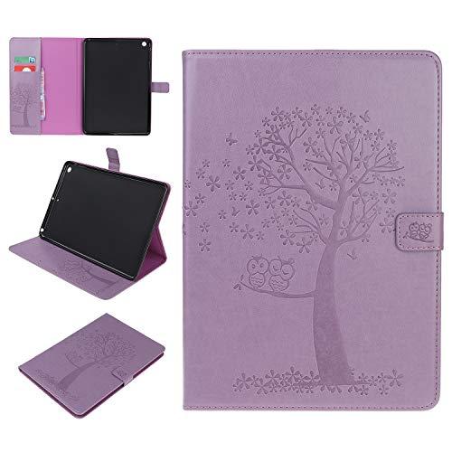 Yobby Kompatibel mit iPad Air(iPad 5) Hülle,Ultra Dünnes PU Leder Tasche Eule Baum Muster,Flip Magnetisch Ständer Schutzhülle für iPad Air(iPad 5)-Lila