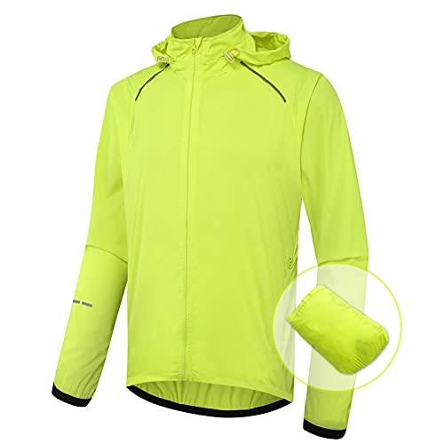 LISI Chaqueta de Ciclismo para Hombre de Verano MTB Cortavientos Impermeable Respirable Empacable Chaqueta para Correr Montaña