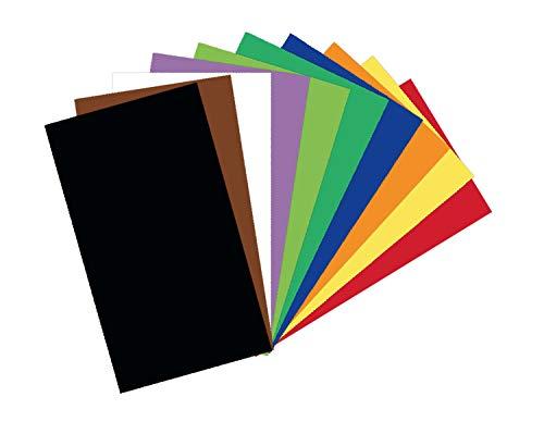 folia 6122/99/100 - Tonkarton Mix, ca. 50 x 70 cm, 220 g/m², 100 Bogen sortiert in 10 Farben, zum Basteln und kreativen Gestalten von Karten, Fensterbildern und für Scrapbooking