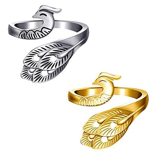 Knitting Crochet Loop Ring, Adjustable Knitting Loop Rings, Finger Ring Knitting Loop, sukivitor Yarn Guide Finger Holder for Crochet Knitting Tools (Silver+Gold)