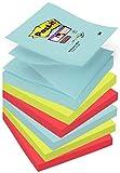 Post-it 6412 Super Sticky Z-notes Foglietti, Confezione da 6 Blocchetti da 90 Fogli, 76 x 76 mm, Ricariche per Dispenser, Multicolore