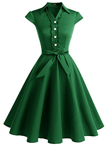 Wedtrend Women's 1950s Cap Sleeves Swing Vintage Party Dresses Multi Colored WTP10007ArmyGreenL