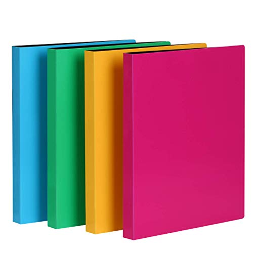 CRANBURY Punchless Binders with Clamp – (Assorted Colors, 4-Pack), Bright Color Poly Binders, Sturdy Plastic Folders Clips Hold 100 Letter Size Pages, Clasp Binders, Clip Folders, Includes Labels