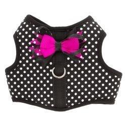 TOP PAW Polka Dot Bow Dog Vest Harness Black~X-Small~