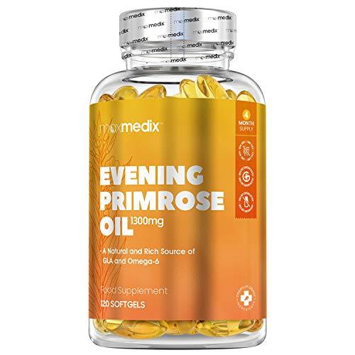 Nachtkerzenöl Kapseln - 1300mg Nachtkerzenöl je Kapsel mit 117mg GLA Gamma Linolsäure, 949mg Omega 6 Linolsäure - 120 Stk. - Geprüftes & kaltgepresstes Nachtkerzenöl - Evening Primrose Oil - MaxMedix