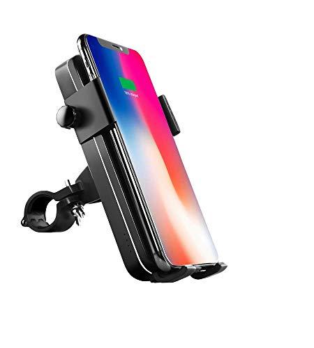 Easy-Life Soporte telefono Cargadores sin Cable per induccion con bateria Externa para Bicicleta, Patinete, Moto, Scooter, ATV. Porta movil para Bici con Power Bank de induccion y Cable.