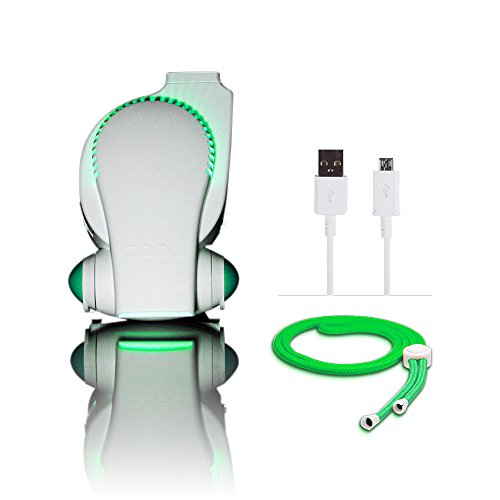 Portable Baby Stroller Fan with LED Lights - Cool on the Go Clip On Fan - Versatile Hands-Free Personal Cooling Device/Compact USB Fan - Bladeless Desk Fan White/Green