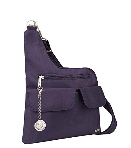 Travelon, borsa a tracolla classica antifurto, borsa messenger, borsetta, borsetta, portachiavi in metallo (viola)